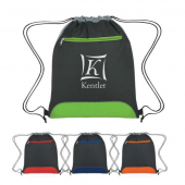 Drawstring Bag with Front Zippered Pocket - #3087
