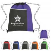 Drawstring Bag with Large Front Pocket - #3382