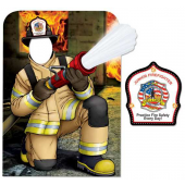 Child Size Cutout - Firefighter Photo Prop Kneeling with Firehose - Customizable - #18314VPC