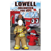 Child Size Cutout - Firefighter Photo Prop with Engine and Hydrant - Customizable - #18275VPC