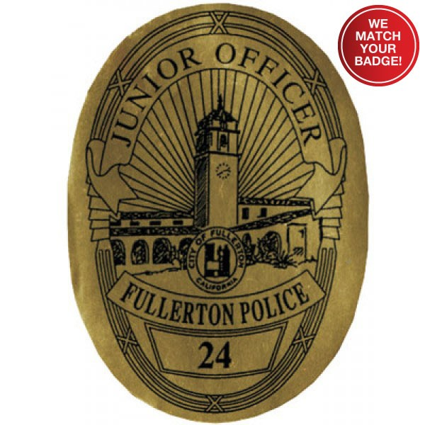 Stick On Jr Oval Police Badges - #3199