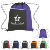 Drawstring Backpack with Large Front Pocket - #3382
